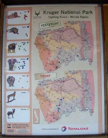 Kruger National Park sightings board
